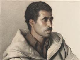 Artwork by Claudio Bravo, MESSAOUD, Made of pastel and charcoal on paper