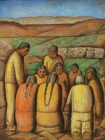 Artwork by Alfredo Ramos Martínez, EL PEQUEÑO MERCADO, Made of tempera on newsprint laid down on board