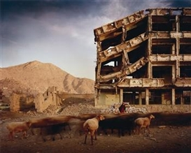 Artwork by Simon Norfolk, Bullet-scarred apartment building and shops in the Karte Char district of Kabul, Made of Digital colour coupler print