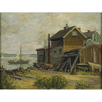 "2 Works : Fisherman""s Shack ; Lincoln Reservoir (Lincoln, MA) By Jacob I. Greenleaf"
