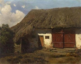 Artwork by Adolf Eberle, Thatched Barn, Made of Oil on card, laid on fibreboard