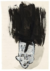 Artwork by Rosemarie Trockel, OHNE TITEL (UNTITLED), Made of Gouache, opaque white and drawing ink on lined beige paper