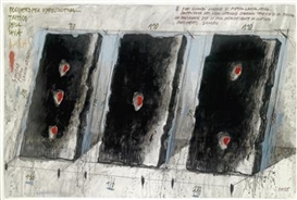 Artwork by Fabrizio Plessi, Progetto per video scultura trittico della lava, lava project, digital stones, Made of mixed media on paper, laid down on wooden panel