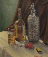 Still Life with Whiskey By B. Poloni ,1951