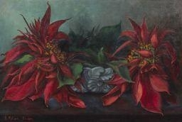 Still Life with Flowers By B. Poloni ,1952