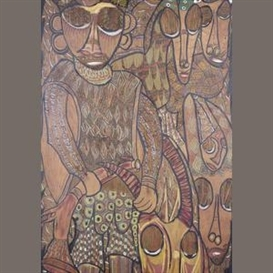 Artwork by Twins Seven Seven, The hunt, Made of mixed media on board