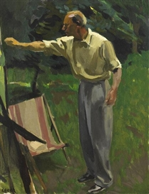 Artwork by William John Leech, PAINTING IN A GARDEN, Made of oil on canvas