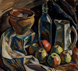 Artwork by Ilmari Aalto, Still-life with a Jug, Pot and Apples, Made of oil on plywood