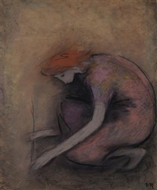Artwork by Elvi Maarni, Girl and a Twig, Made of pastel