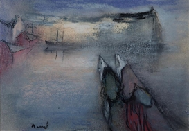 Artwork by Elvi Maarni, Two Women in a Harbour, Made of pastel