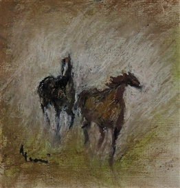 Artwork by Elvi Maarni, Horses, Made of pastel
