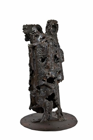 Artwork by Alpo Jaakola, Head of a Soldier, Made of metal on iron stand