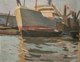 Artwork by William John Leech, SHIPPING, BILLINGSGATE, Made of Oil on board