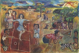 Artwork by Sudjana Kerton, Anak-Anak Bermain (Children at Play), Made of oil on canvas