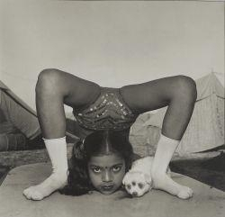 Mary Ellen Mark, Contortionist with her puppy, Sweety, Great Raj Kamal Circus, India