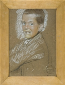 Artwork by Stanislaw Wyspianski, Study of smiling boy, Made of pastel, crayons, paper
