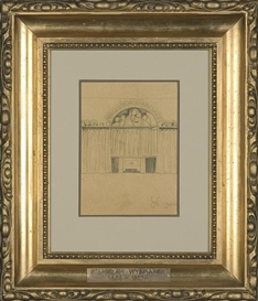 Artwork by Stanislaw Wyspianski, Interior study, Made of pencil,paper