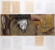 Artwork by Jean Le Gac, SANS TITRE, Made of Mixed media on paper + handwritten letters from the artist pasted on panel