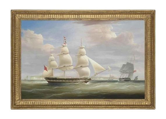 Artwork by William John Huggins, The Hon. East India Company's ship Inglis in two positions in the Channel off Dover, Made of oil on canvas