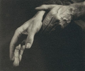 Artwork by Trude Fleischmann, Two works:HAND STUDIES (HUGO BURGHAUSER, BASSOONIST OF THE VIENNA PHILHARMONIC ORCHESTRA), Made of vintages gelatin silver print