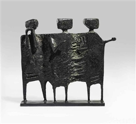 Artwork by Kenneth Armitage, The Visitors, Made of bronze with a black patina