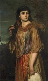 Anton Romako, Gypsy Girl with Tambourine
