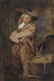 Artwork by Hans Canon, A Man Dressed in the Style of Oliver Cromwell, standing next to an open treasure chest, Made of oil on canvas