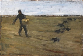 Artwork by Max Liebermann, Sämann (Studie), Made of Oil on cardboard