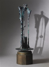 Artwork by Bryan Hunt, RITUAL III, Made of bronze with dark green patina on limestone base