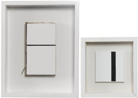 Artwork by Jean-Pierre Raynaud, Two works: FRAGMENT DE MENIL; UNTITLED (1 LIGNE), Made of ceramic tile, particle board and nail assemblage; acrylic on canvas collage on canvas