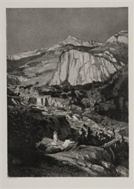 Artwork by Max Klinger, Mondnach, Made of Etching with aquatint