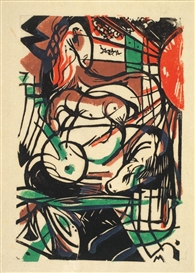 Artwork by Franz Marc, Geburt der Pferde, Made of woodcut