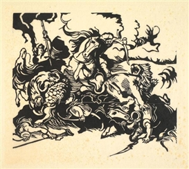 Artwork by Franz Marc, Löwenjagd - Nach Delacroix, Made of woodcut