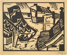 Artwork by Karl Schmidt-Rottluff, Motiv aus Lötzen, Made of woodcut