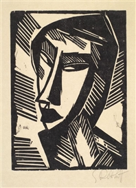 Artwork by Karl Schmidt-Rottluff, Weiblicher Kopf, Made of woodcut