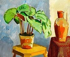 Artwork by Karl Oscar Isakson, Still life with a begonia, Made of Oil on canvas