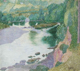Artwork by Jan Toorop, A summer landscape, England, Made of oil and pencil on canvas laid down on board