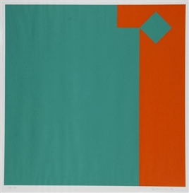 Artwork by Camille Graeser, Grün / Orange 3:1, Made of Silkscreen printed in colors