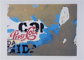Artwork by Mimmo Rotella, Pepsi-Cola, Made of Décollage and offset lithograph printed in colors