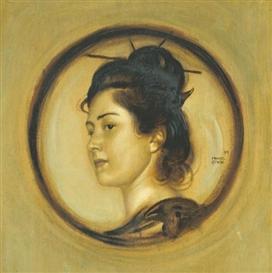 Artwork by Franz von Stuck, Marie Stuck in japanischem Kostüm (The Artist's Daughter Marie à la japonnaise), Made of oil on board