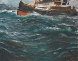 Artwork by Christian Krohg, A ship in rough seas, Made of oil on canvas