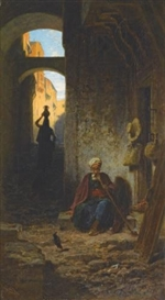 Artwork by Carl Spitzweg, Aus dem Orient (Out of the Orient), Made of oil on canvas