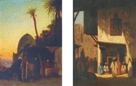Artwork by Charles-Théodore Frère, Au Bord du Nil and Rue Orientale: a pair of paintings, Made of oil on panel