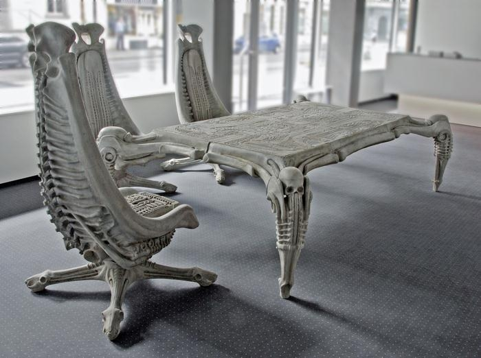 h r giger harkonnen table and chairs 1982