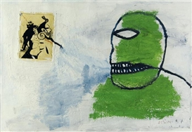 Artwork by Hans Schärer, Lettre à Job, Made of Oil and collage on cardboard