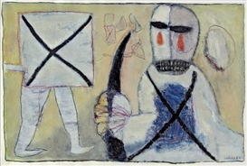 Artwork by Hans Schärer, Mann mit Dolch, Made of Mixed media on paper