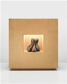 Artwork by Ken Price, Another Culmination of the Whole Thing, Made of Acrylic on fired ceramic, illuminated wood cabinet