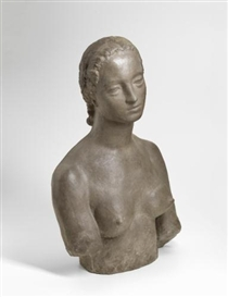 Artwork by Wilhelm Lehmbruck, FRAUENBÜSTE (BÜSTE FRAU L.) (BUST OF A WOMAN - FRAU L.), Made of cast stone