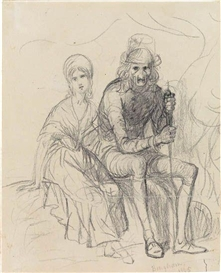 Artwork by George Caleb Bingham, Two Seated Figures, Made of Pencil on cream wove paper