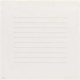Artwork by Agnes Martin, On a Clear Day, Made of Screenprint printed in gray on warm